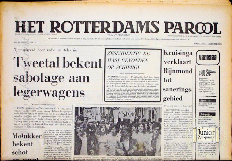 Krant geboortedag Het Rotterdamsch parool  (22-07-1971), een mooi cadeau voor jubileum of verjaardag