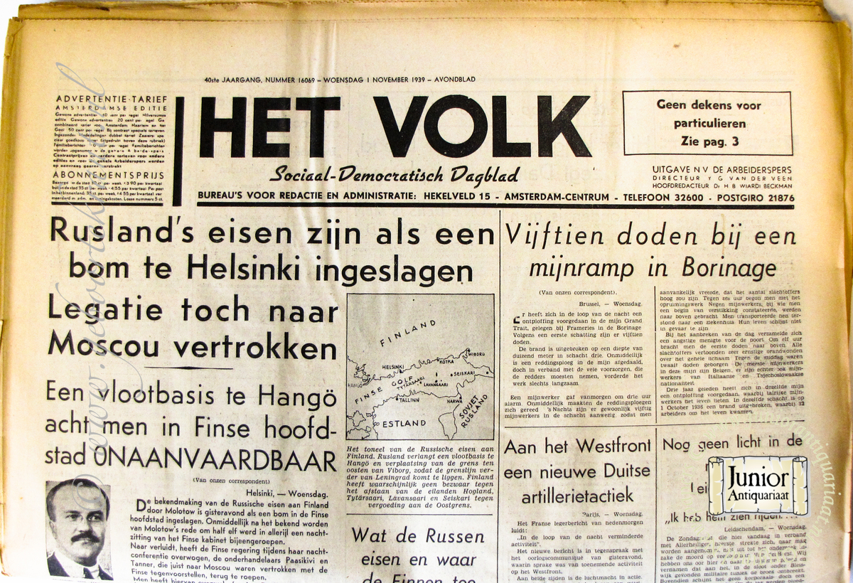 Krant geboortedag Het Volk (25-11-1924), een mooi cadeau voor jubileum of verjaardag