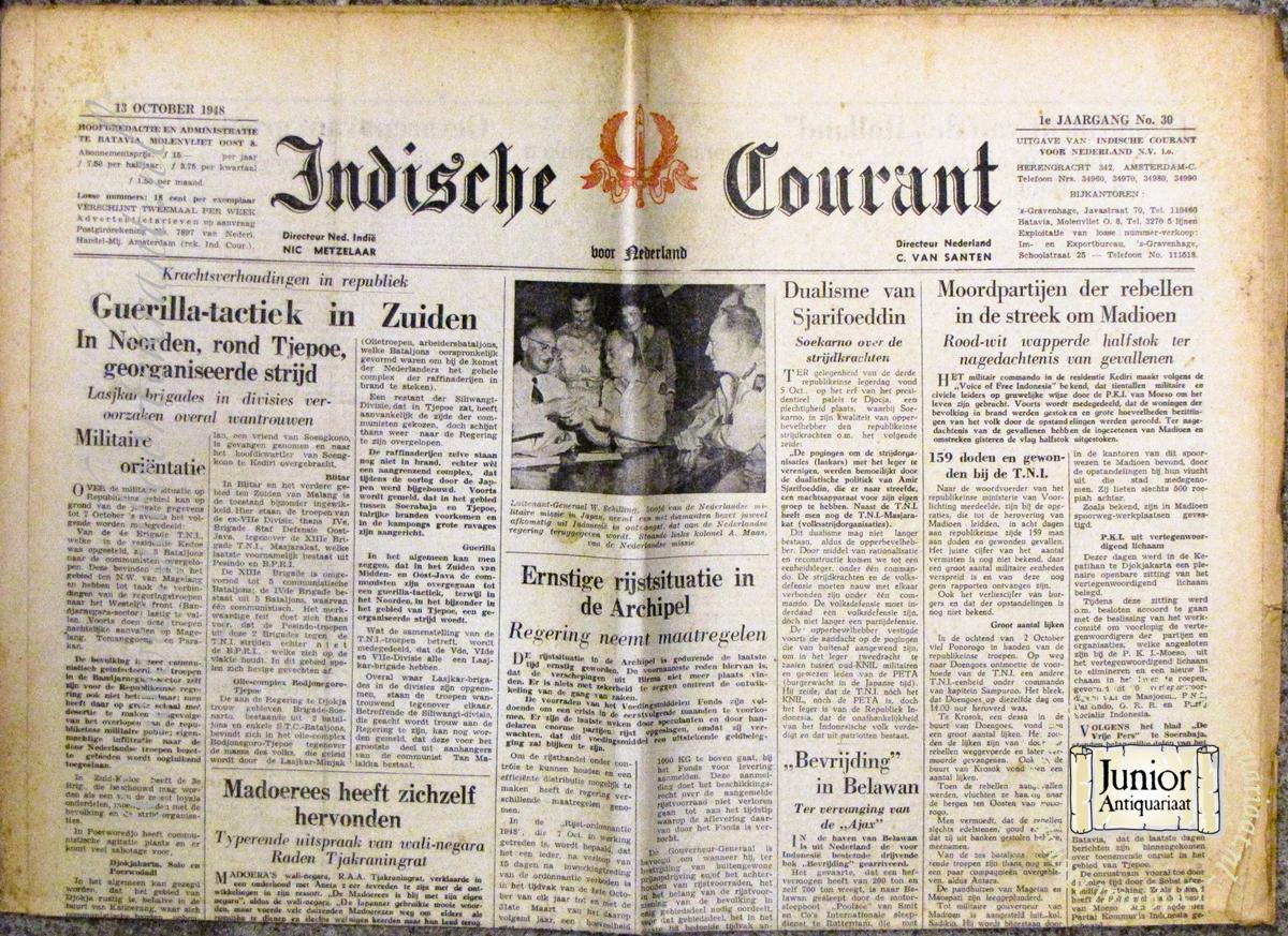 krant geboortedag titel Indische courant