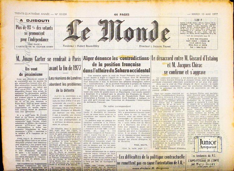 Krant geboortedag Le Monde (22-07-1971), een mooi cadeau voor jubileum of verjaardag