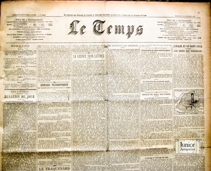 Krant geboortedag Le Temps (25-11-1924), een mooi cadeau voor jubileum of verjaardag