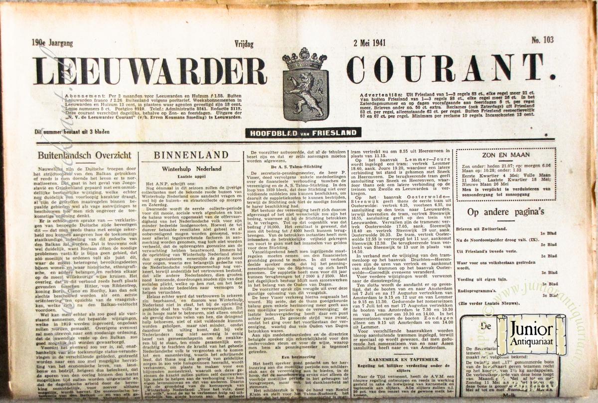Krant geboortedag Leeuwarder courant (22-07-1971), een mooi cadeau voor jubileum of verjaardag