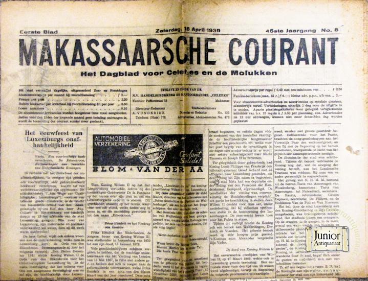 Krant geboortedag Makassaarsche courant  (06-05-1930), een mooi cadeau voor jubileum of verjaardag