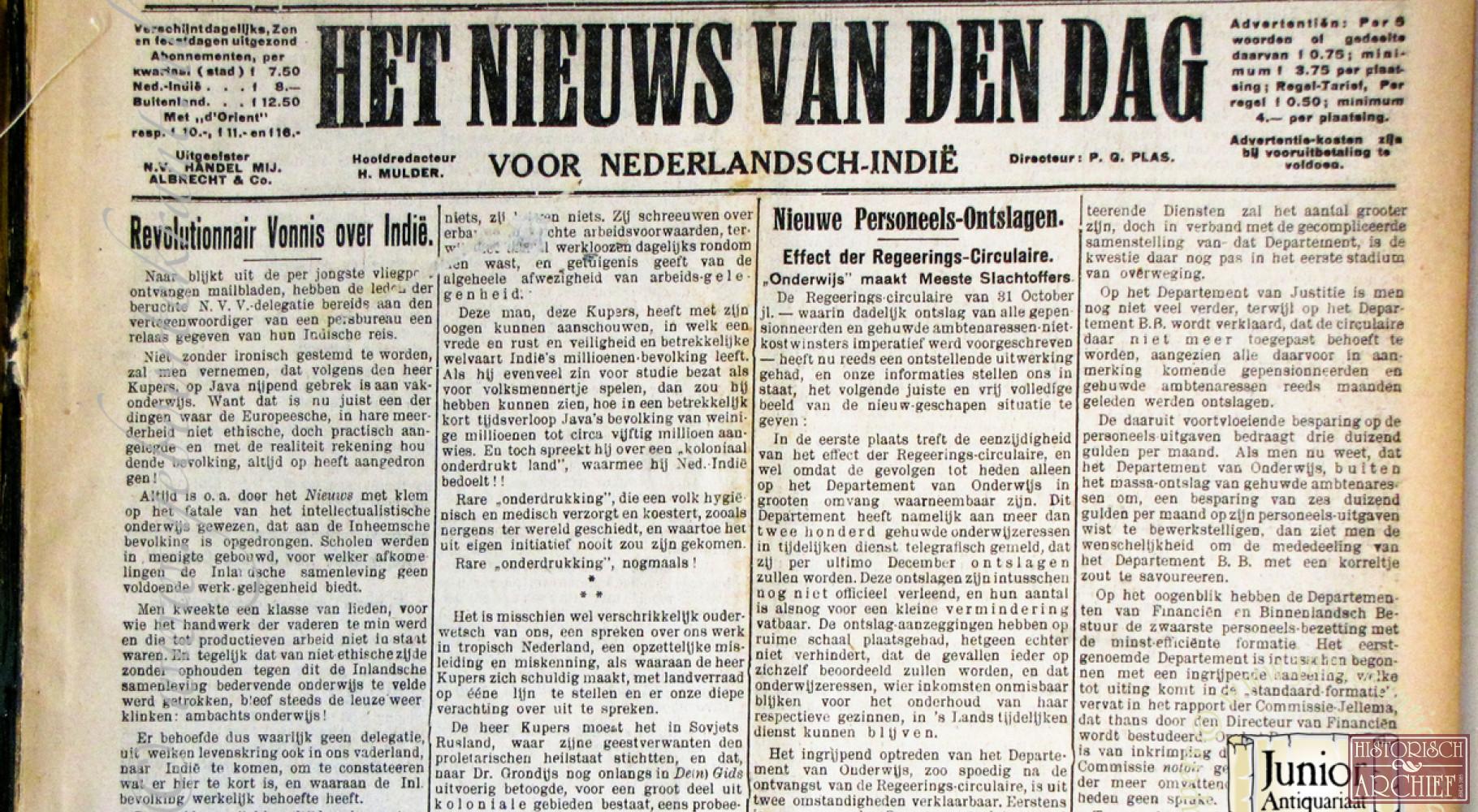 Nieuws van den Dag voor Ned. Indië