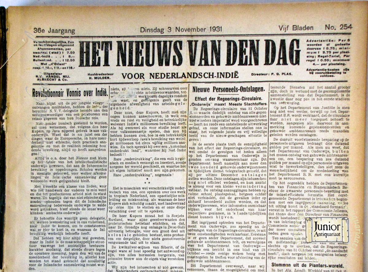 Krant geboortedag Nieuws van den Dag voor Ned. IndiOchtend krantë (17-12-1931), een mooi cadeau voor jubileum of verjaardag