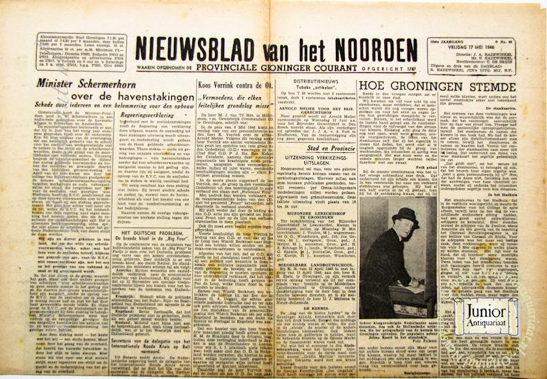 krant geboortedag titel Nieuwsblad van het Noorden