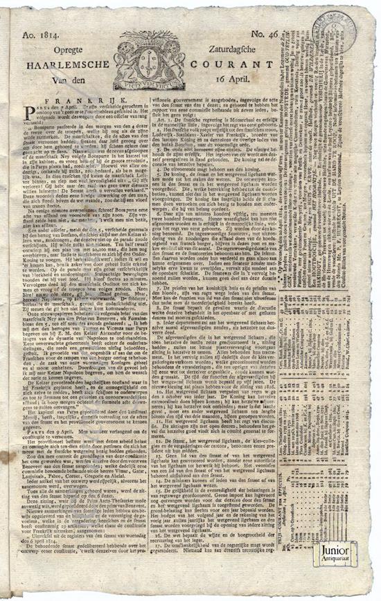krant geboortedag titel Opregte Haarlemsche Courant