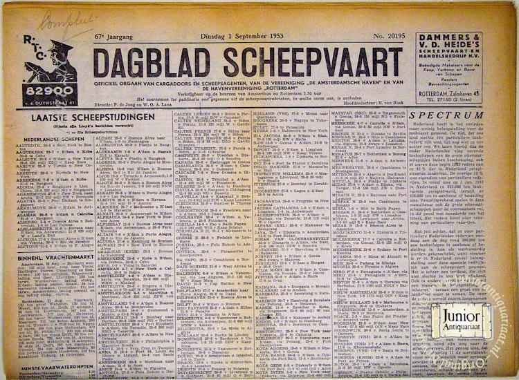 Krant geboortedag Scheepvaart (25-11-1924), een mooi cadeau voor jubileum of verjaardag