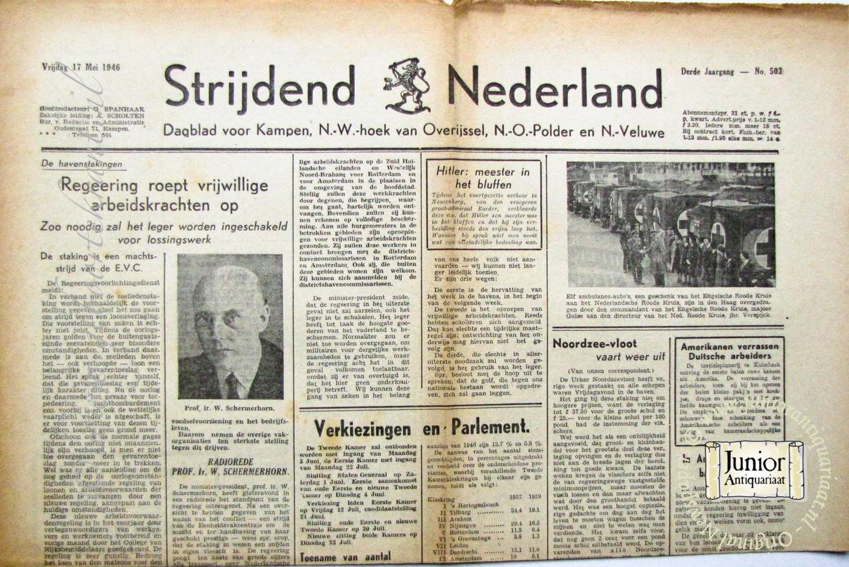 krant geboortedag titel Strijdend Nederland